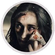 Grim Face Of Horror Crying Tears Of Blood Round Beach Towel
