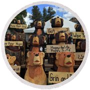 Grin And Bear It Round Beach Towel by Beth Saffer