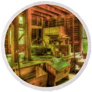 Round Beach Towel featuring the photograph Grindingworks Mingus Mill Great Smoky Mountains Art by Reid Callaway