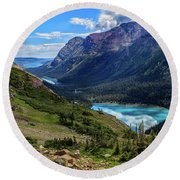 Grinell Hike In Glacier National Park Round Beach Towel
