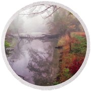 Grings Mill Fog 015 Round Beach Towel