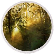 Grings Mill Fog 15-039 Round Beach Towel