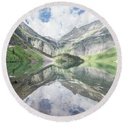 Grinnell Lake Mirrored Round Beach Towel by Alpha Wanderlust