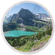 Grinnell Lake Panoramic - Glacier National Park Round Beach Towel