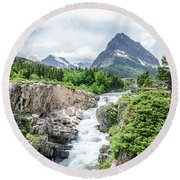 Round Beach Towel featuring the photograph Grinnell Point by Margaret Pitcher