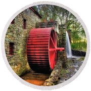 Round Beach Towel featuring the photograph Grist Mill In Autumn by Joann Vitali