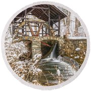 Grist Mill In Fresh Snow Round Beach Towel