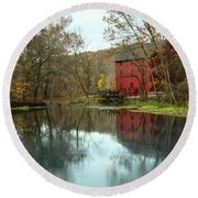 Grist Mill Wreflections Round Beach Towel