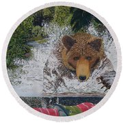 Grizzly Chase Round Beach Towel