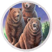Grizzly Bears In Starry Night Round Beach Towel