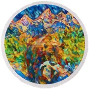 Round Beach Towel featuring the painting Grizzly Catch In The Tetons by Dan Sproul