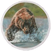 Grizzly Charge Round Beach Towel by David Stribbling