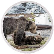 Grizzly Cub With Mother Round Beach Towel