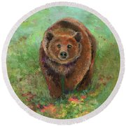 Grizzly In The Meadow Round Beach Towel
