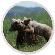 Grizzly  Mother And A Cub In Katmai National Park Round Beach Towel