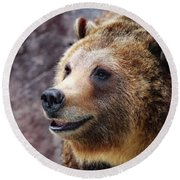Grizzly Smile Round Beach Towel