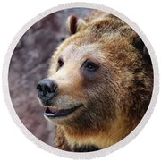 Grizzly Smile Round Beach Towel by Elaine Malott
