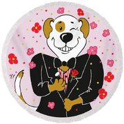 Groom Dog Round Beach Towel