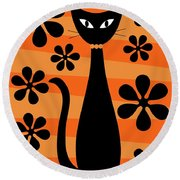 Groovy Flowers With Cat Orange And Light Orange Round Beach Towel