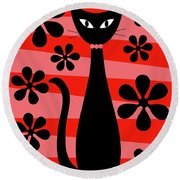 Groovy Flowers With Cat Red And Light Red Round Beach Towel