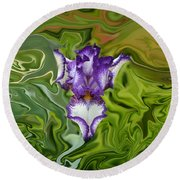 Groovy Purple Iris Round Beach Towel