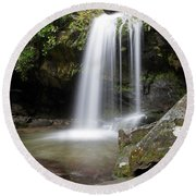 Grotto Falls Vertical Round Beach Towel