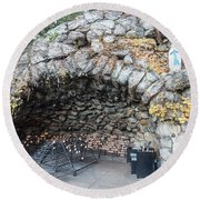 Grotto Of Our Lady Of Lourdes 2 Round Beach Towel