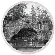 Grotto Of Our Lady Of Lourdes 3 Round Beach Towel