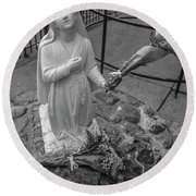 Grotto Of Our Lady Of Lourdes Statue  Round Beach Towel