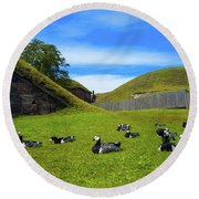 Group Of Birds Resting In The Bright Green Grass. Round Beach Towel