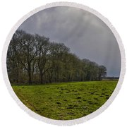 Round Beach Towel featuring the photograph Group Of Trees Against A Dark Sky by Frans Blok