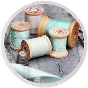 Group Of Vintage Sewing Notions Round Beach Towel