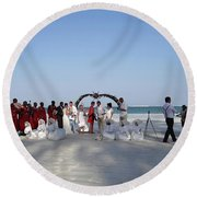Group Wedding Photo Africa Beach Round Beach Towel