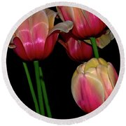 Grouping Ofpink And Yellow Tulips Round Beach Towel