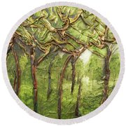 Round Beach Towel featuring the mixed media Grove Of Trees by Angela Stout