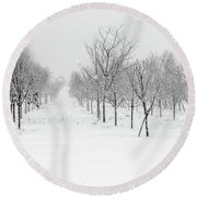 Grove Of Trees In A Snow Storm Round Beach Towel