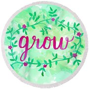 Grow Watercolor Round Beach Towel by Michelle Eshleman