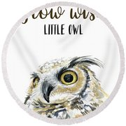 Grow Wise Little Owl Round Beach Towel