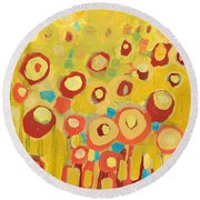 Growing In Yellow No 2 Round Beach Towel