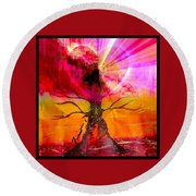 Round Beach Towel featuring the mixed media Growing Love by Fania Simon