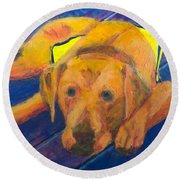 Round Beach Towel featuring the painting Growing Puppy by Donald J Ryker III