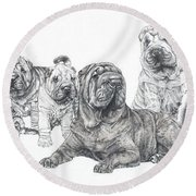 Mister Wrinkles And Family Round Beach Towel
