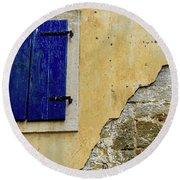 Groznjan Istrian Hill Town Stonework And Blue Shutters  - Istria, Croatia Round Beach Towel