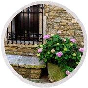 Groznjan Istrian Hill Town Stonework And Flowerpot - Istria, Croatia Round Beach Towel