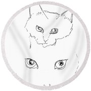 Round Beach Towel featuring the drawing Grrrrrrrrrr by Denise Fulmer