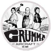 Grumman Aircraft Est 1929 Round Beach Towel