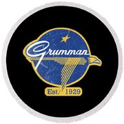 Grumman Est 1929 Distressed Round Beach Towel