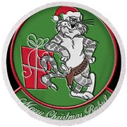 Grumman Merry Christmas Round Beach Towel
