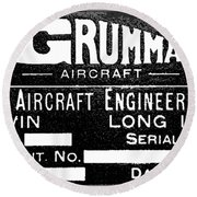 Grumman Product Plate Round Beach Towel