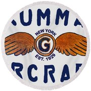 Grumman Wings Blue Round Beach Towel